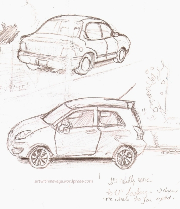 Drawing the cars I saw on my street from my window (Pencil on paper, 2003)