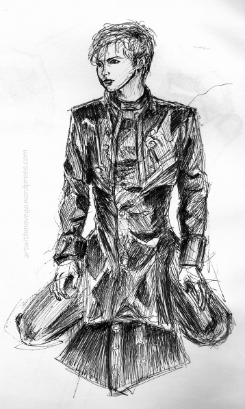 Ink drawing based on a photograph of rock star Gackt (Pen & ink on paper, 2005)