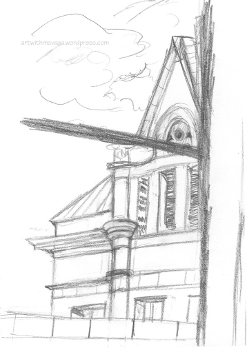 View of Old Main from the 2nd floor lounge of said building (Pencil on paper, 2003)
