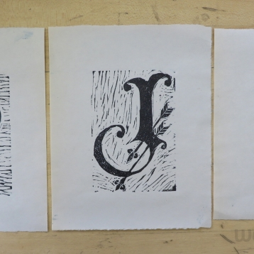 Hand-printed linocut letter forms (2017)