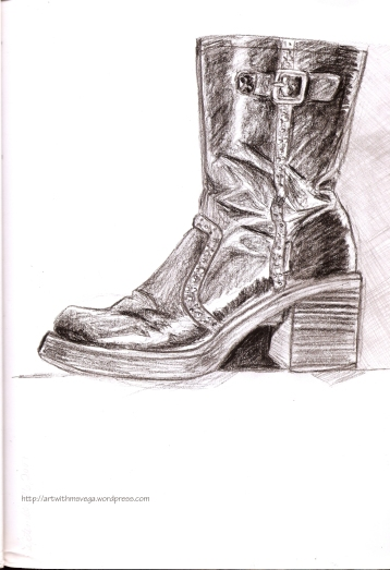 My favorite moto boot back in the day (Pencil on paper, 2007)